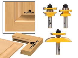 round over rail stile with cove panel raiser 3 bit router bit set yonico 12343 com