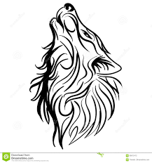 вектор татуировки дизайна вопля головы волка племенной иллюстрация