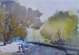 morning walk painting by artist bijay biswaal watercolor paper