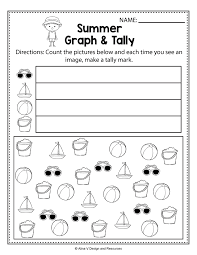 Summer Graph And Tally Math Worksheets Activities For Time