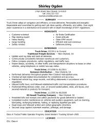 Sample Resume Truck Driver Experience Resumes
