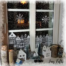 Winter Weihnachts Fensterdekoration Häuser Bäume