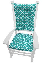 Fulton Ogee Aqua Porch Rocker Cushions Latex Foam Fill Fade