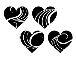 白い波模様の黒ハート素材 ハートの素材屋