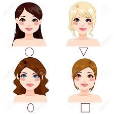 図形の種類の別の顔とヘアスタイルで別の女性のイラスト素材ベクタ