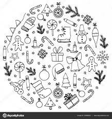 ベクトル イラスト禅もつれクリスマスの要素を円します落書きを描画