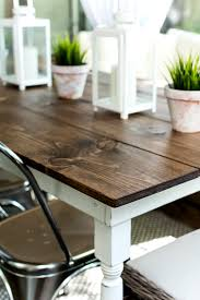 farmhouse table stained top and white bottom