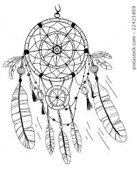 Small Picture Dreamcatcher feathers and beads Coloring page Stock
