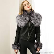 2018 women leather jacket with big fur collar new style streetwear boyfriend motorcycle jackets fashion black leather winter coat cjf0913 summer jacket faux