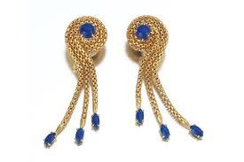 pair of italian gold and lapis earrings