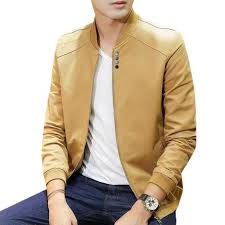 sandy brown artificial soft leather jacket for men