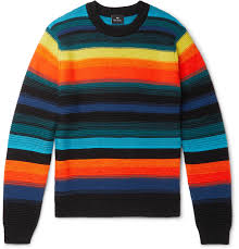 Design Workers Striped Crew Neck Sweater Ps Paul Smith Striped Knitted Sweater