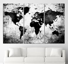 black white world map canvas print  contemporary  panel triptych