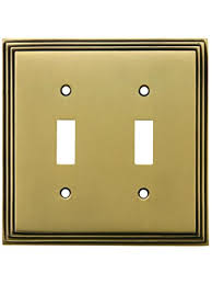 antique switch plates.  Antique MidCentury Toggle Switch Plate  Double Gang In Antique Brass  Plates And R