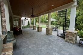 gable screen porch with tile floor and spiral staircase traditional verandah