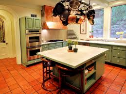 impressing kitchen island seating. Amazing Kitchen Areas With Orange Tile Floor Ideas Green Cabinets Added White Tops Impressing Island Seating