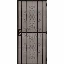 black metal screen doors. Shop Gatehouse Achilles Black Steel Surface Mount Single Security Metal Screen Doors I