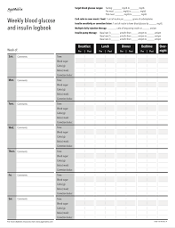 Blood Sugar Monitoring Chart Download Easy To Use Blood Sugar Log Sheets With Downloadable