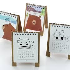 2017 year kawaii cartoon bear calendar creative desk standing paper calendars organizer schedule planner book new