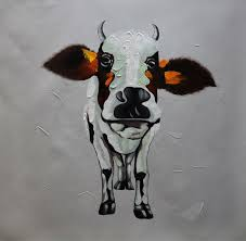 hand painted abstract cartoon animal oil painting on canvas lovely cow canvas painting wall art picture