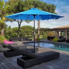 tilt round solar light patio umbrella
