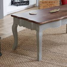 grey coffee table with dark wood top french grey range