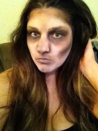easy zombie makeup using just white face paint and 3 eyeshadow colors more lip color would