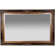 Large 6ft. Vintage Entree Beveled Glass Wall Mirror Ebonized Gilt Wood Frame