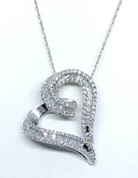 zales 1 2ct round baguette cut diamond heart necklaces pendant 10k white gold from