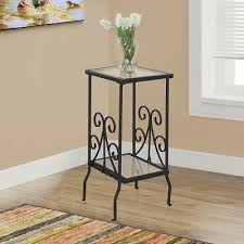 metal accent table. Pia Glass Top Metal Accent Table - Black S
