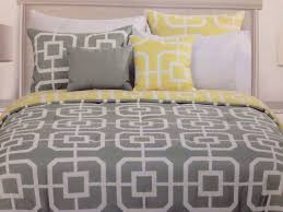 details about max studio grey and yellow modern geometric print king duvet cover set w shams