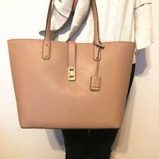 nwt michael kors karson large carryall leather tote handbag in fawn