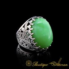 Light Green Stone Rings Big Size Light Green Oval Aqeeq Silver Classic Ring Boutique Ottoman Exclusive