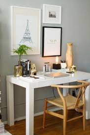 neutral office decor. how to style a west elm parsons desk white lacquer neutral gold black grey walls home office space photography by danielle decor