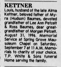 Louis Kittner father of Myra Hudson Baumes Funeral Notice The Cincinnati  Enquirer 6 Sep 1996 - Newspapers.com