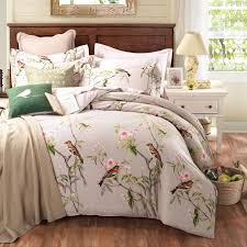 past style 100 cotton bedding sets queen king size bed linen fl plant birds