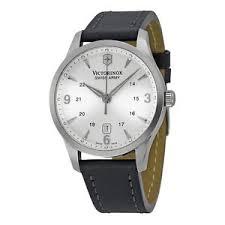 swiss army alliance watch victorinox swiss army alliance quartz men s leather strap watch 249034