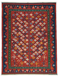 the pattern consists of narrow stripes of blue green brownish yellow and red containing very small geometric designs with this one exception