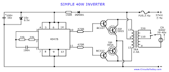 how to make an inverter simple 40 watts inverter circuit simple inverter circuit diagram