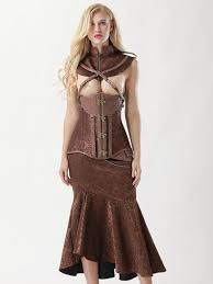 womens vintage brown steel boned faux leather jacquard underbust corset skirt set 1 jpg