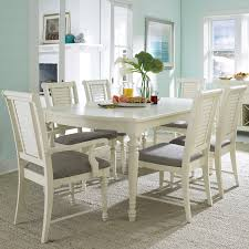 7 Piece Turned Leg Dining Table and Louvered Back Chairs by Broyhill