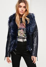 navy faux fur collar faux leather jacket cnvdfsp