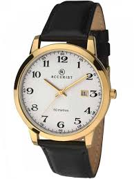 accuristmens gold plated black leather strap watch 7027