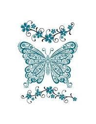 Modrý Motýl A Květiny Nalepovací Tetování