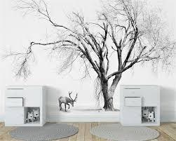Us 90 40 Offbeibehang Aangepaste Behang Woonkamer Slaapkamer Achtergrond 3d Behang Nordic Abstracte Zwart Wit Bomen Tv Achtergrond Muurschildering