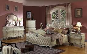 Antoinette White Leather Bed Traditional Bedroom Set Wmarble Top Bedroom Set  With Marble Top