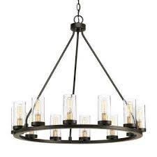 12 light antique bronze chandelier with clear seeded glass and natural