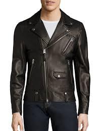 mackage asymmetrical zip leather jacket black men apparel shearling