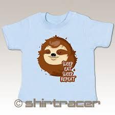 Baby Shirt Sprüche Baby Sleep Eat Sleep Repeat Faultier