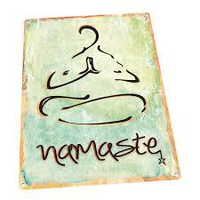Namaste Metal Sign Health And Well Being Yoga Sanskrit Hindi Greeting
